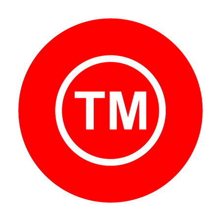 Trade mark sign. White icon on red circle.