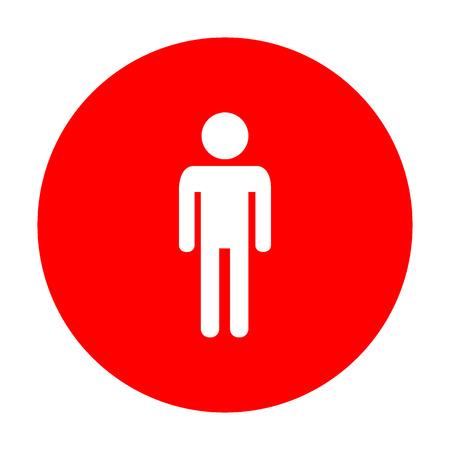 Man sign illustration. White icon on red circle.