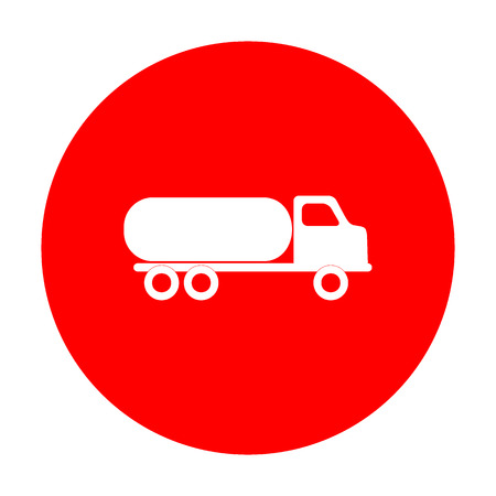 toxic substance: Car transports sign. White icon on red circle.