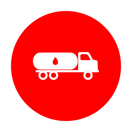 toxic substance: Car transports Oil sign. White icon on red circle.
