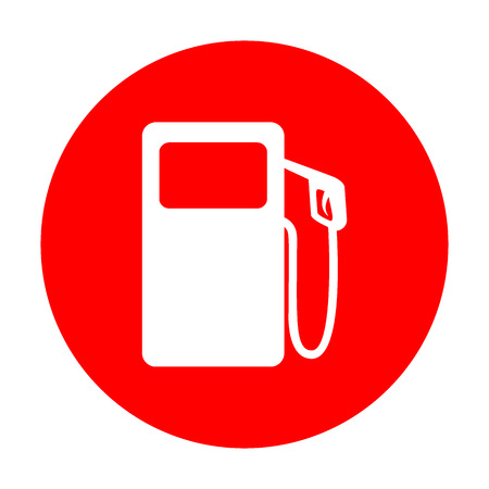 Gas pump sign. White icon on red circle.