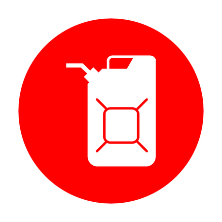 Jerrycan oil sign. Jerry can oil sign. White icon on red circle.