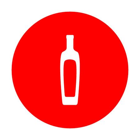 Olive oil bottle sign. White icon on red circle. Illustration