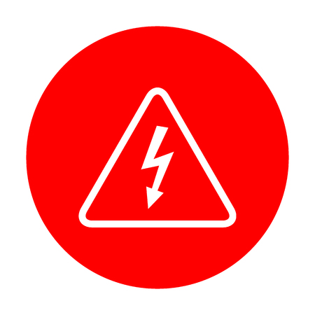 volte: High voltage danger sign. White icon on red circle.
