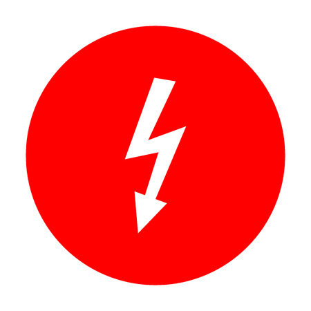 lethal: High voltage danger sign. White icon on red circle.