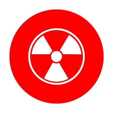 Radiation Round sign. White icon on red circle.