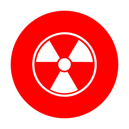 Radiation Round sign. White icon on red circle.