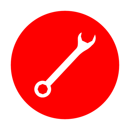 Crossed wrenches sign. White icon on red circle.