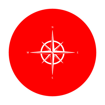 Wind rose sign. White icon on red circle.