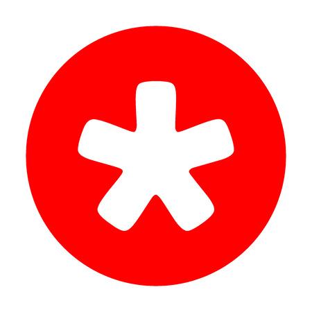 Asterisk sterrenbeeld. Wit pictogram op rode cirkel.