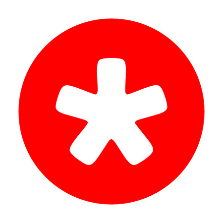 Asterisk star sign. White icon on red circle. Illustration