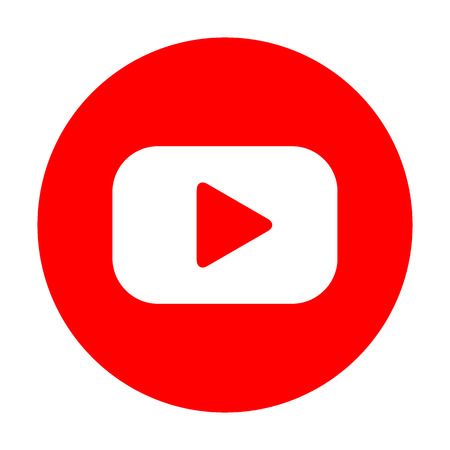 red button: Play button sign. White icon on red circle. Illustration