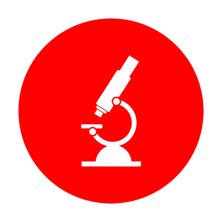 Chemistry microscope sign for laboratory. White icon on red circle. Illustration