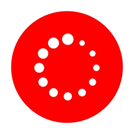 Circular loading sign. White icon on red circle. Illustration