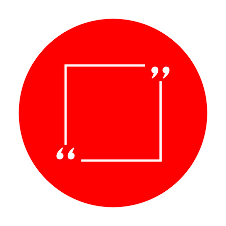 Text quote sign. White icon on red circle. Illustration