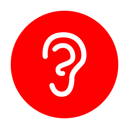 audition: Human ear sign. White icon on red circle. Illustration