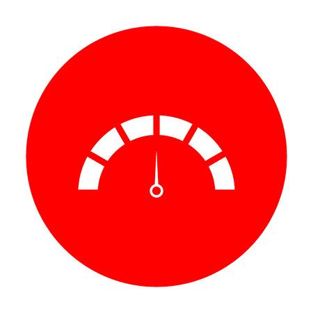 Speedometer sign illustration. White icon on red circle. Illustration