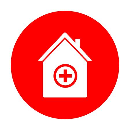 emt: Hospital sign illustration. White icon on red circle.
