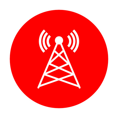 Antenna sign illustration. White icon on red circle. Illustration