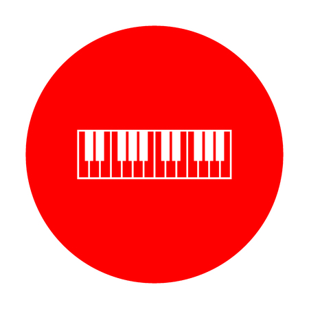 Piano Keyboard sign. White icon on red circle. Vector Illustration