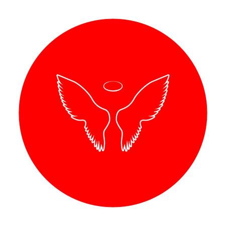 Wings sign illustration. White icon on red circle. Illustration