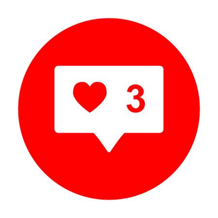Como signo y comentar. El icono blanco en el círculo rojo. Ilustración de vector