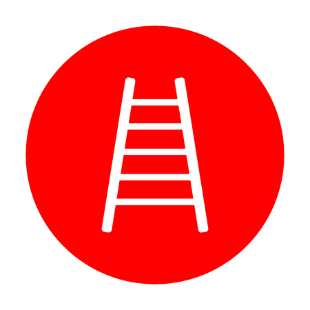 Ladder sign illustration. White icon on red circle. Illustration
