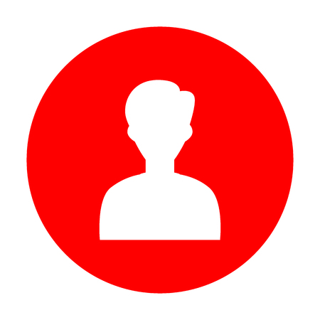 User avatar illustration. Anonymous sign. White icon on red circle. 矢量图像