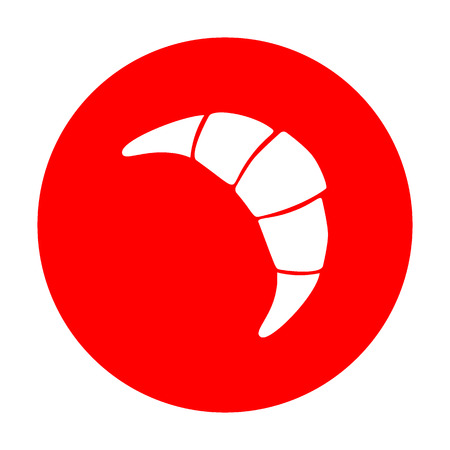 Croissant simple sign. White icon on red circle. Illustration