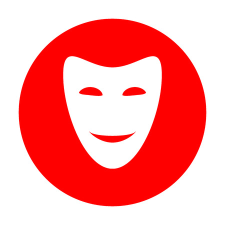 Comedy theatrical masks. White icon on red circle.