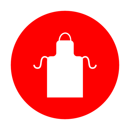 barbecue stove: Apron simple sign. White icon on red circle.