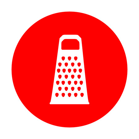 grater: Cheese grater sign. White icon on red circle. Illustration