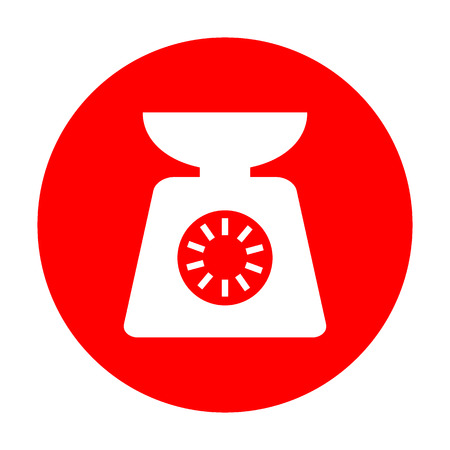 ounce: Kitchen scales sign. White icon on red circle.