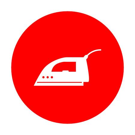 smoothing: Smoothing Iron sign. White icon on red circle. Illustration