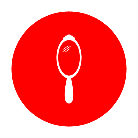 hand mirror: Hand Mirror sign. White icon on red circle.