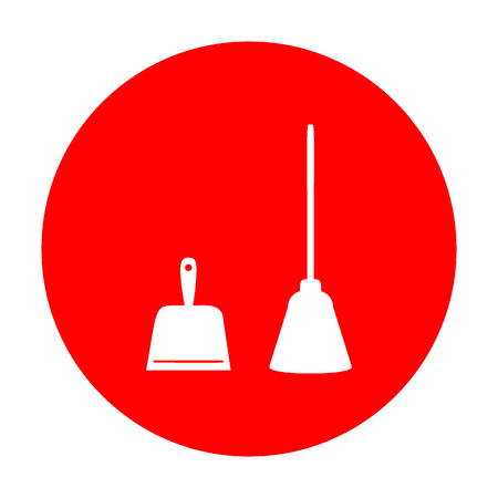 whisk broom: Dustpan vector sign. Scoop for cleaning garbage housework dustpan equipment. White icon on red circle.