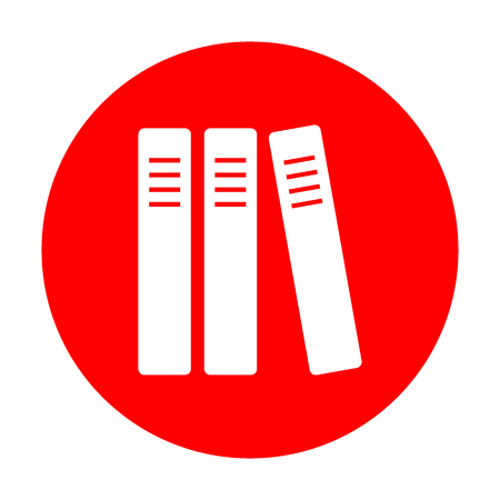 Row of binders, office folders icon. White icon on red circle. Illustration