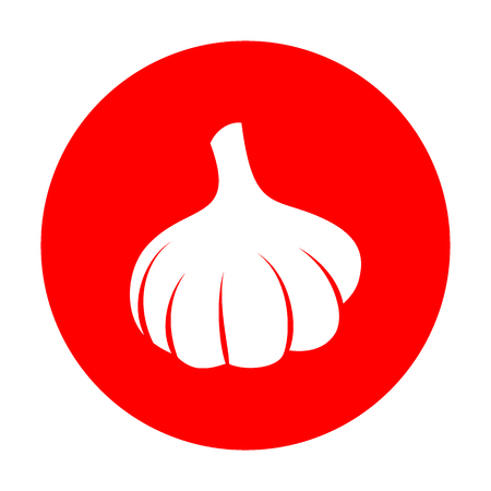 cloves: Garlic simple sign. White icon on red circle.