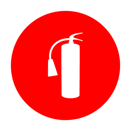 Fire extinguisher sign. White icon on red circle.