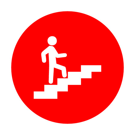 Man on Stairs going up. White icon on red circle. Illustration