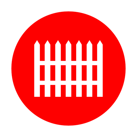 dissociation: Fence simple sign. White icon on red circle.