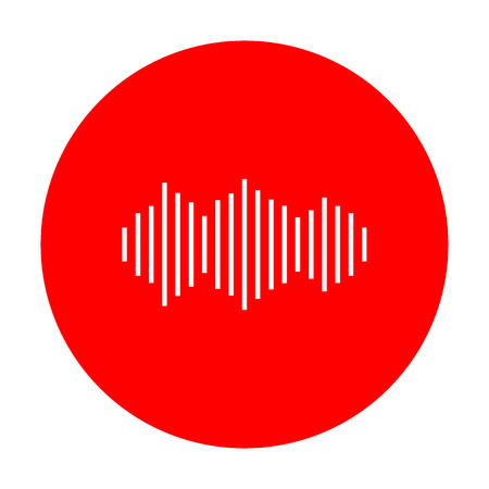 red sound: Sound waves icon. White icon on red circle.