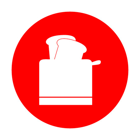 Toaster simple sign. White icon on red circle. Illustration