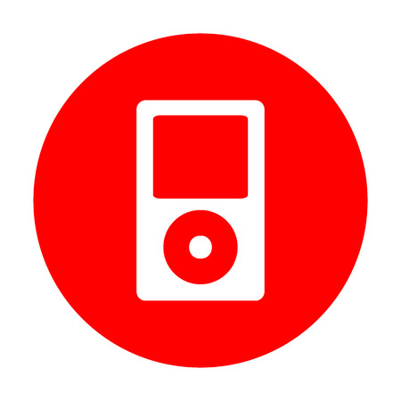 Portable music device. White icon on red circle. Illustration