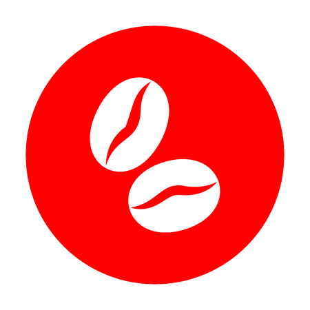 Coffee beans sign. White icon on red circle.