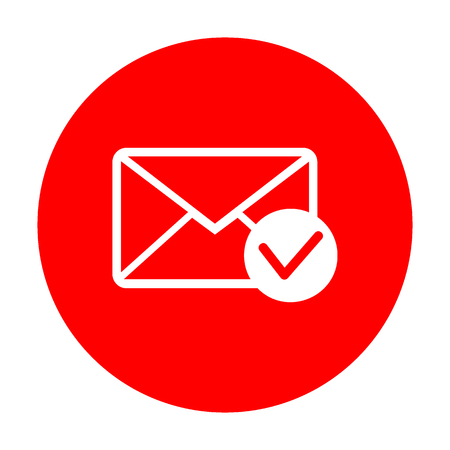 allow: Mail sign illustration with allow mark. White icon on red circle.