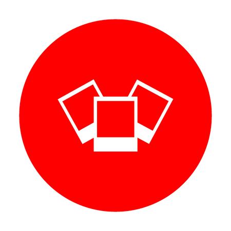 Photo sign illustration. White icon on red circle. Illustration
