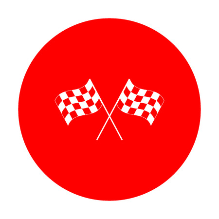 chequer: Crossed checkered flags waving in the wind conceptual of motor sport. White icon on red circle. Illustration
