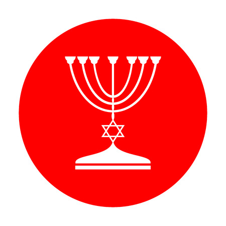 hannukah: Jewish Menorah candlestick in black silhouette. White icon on red circle. Illustration