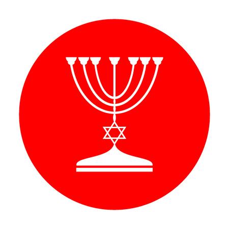 Jewish Menorah candlestick in black silhouette. White icon on red circle. Illustration
